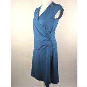 Athleta S Knee Length V-Neck Dress Blue Ruched $89